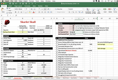 Excel worksheet, Dungeons and Dragons